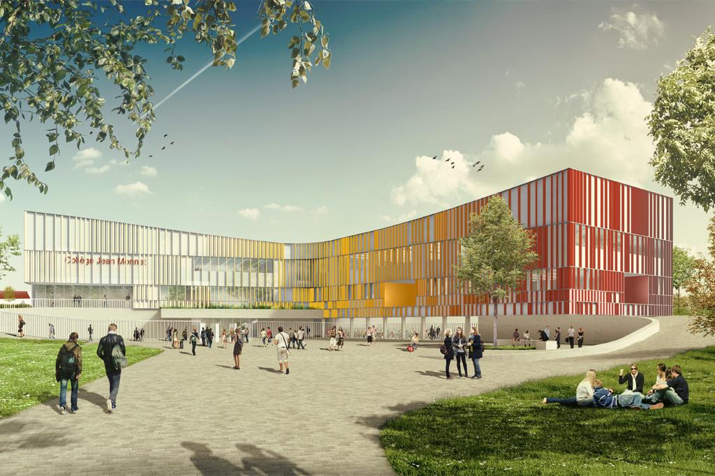 Projet lauréat du concours pour la reconstruction du collège Jean Monnet de Vertou (44)