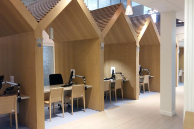 Aménagement bureaux accueil CAF Rennes