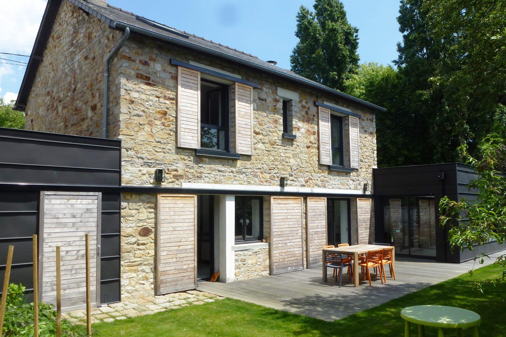 Extension maison individuelle Rennes zinc terrasse